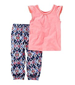 Carter's® Girls' 2T-8 Flutter Sleeve Tank With Printed Joggers Set