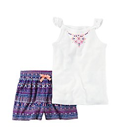 Carter's® Girls' 2T-8 Embroidered Tank With Geo Print Shorts Set