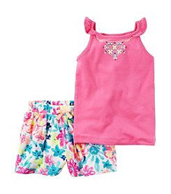 Carter's® Girls' 2T-8 Embroidered Tank With Floral Shorts Set