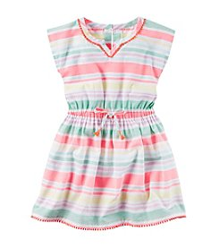 Carter's® Girls' 2T-6X Multi Striped Pom Pom Trim Dress