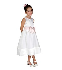 Lavender Girls' 2T-16 Satin Dress With Bow Sash