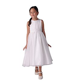 US Angels Girls' 4-6X Organza Tank Dress With Beaded Sash