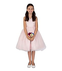 US Angels Girls' 2T-6X Ballerina Dress With Crossover Bodice