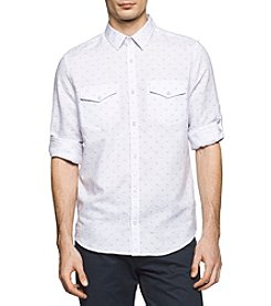 Calvin Klein Men's Linen Print Button Down Shirt
