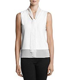 Tommy Hilfiger® Tie Neck Contrast Hem Top