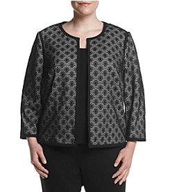 Kasper® Plus Size Bonded Lace Flyaway Jacket