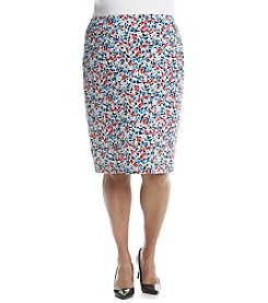 Nine West® Plus Size Printed Slim Scuba Skirt
