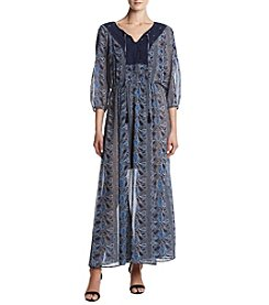 DR2 by Daniel Rainn™ Printed Peasant Maxi Dress