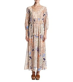 DR2 by Daniel Rainn™ Printed Crochet Peasant Maxi Dress