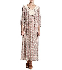 DR2 by Daniel Rainn™ Printed Crochet Peasant Maxi
