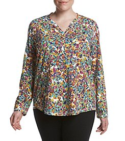 Relativity® Plus Size Allover Floral Print Henley