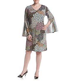 Prelude® Plus Size Printed Bell Sleeve Dress