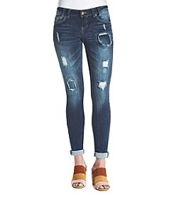 Crave Fame Patched Destructed Skinny Jeans