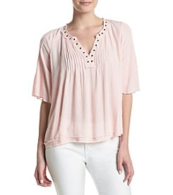 Hippie Laundry Grommet Trim Blouse