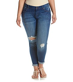 Celebrity Pink Plus Size Destructed Cuff Ankle Jeans