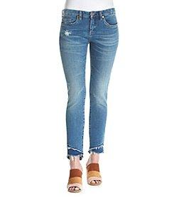 BLANKNYC® Asymmetrical Frey Hem Ankle Skinny Jeans