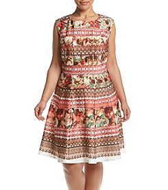 Gabby Skye® Plus Size Floral Fit And Flare Dress