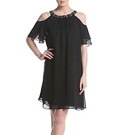 Jessica Howard® Plus Size Beaded Neck Cold Shoulder Dress