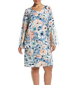 MSK® Plus Size Floral Bell Sleeve Shift Dress