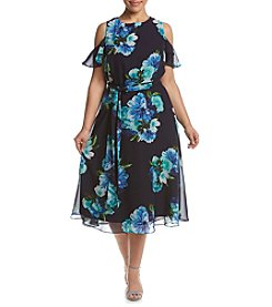 Jessica Howard® Plus Size Floral Cold Shoulder Dress