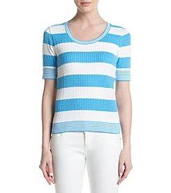 Jeanne Pierre® Striped Scoop Neck Sweater