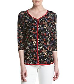 Bobeau® Floral V-Neck Top