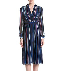 Anne Klein® V-Neck Striped Georgette Dress