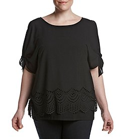 AGB® Plus Size Scalloped Cold Shoulder Top