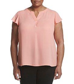 Calvin Klein Plus Size Flutter Sleeve Blouse