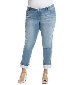 Democracy Plus Size Crochet Trim Destruct Crop Jeans