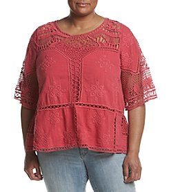 Democracy Plus Size Crochet Flounce Top
