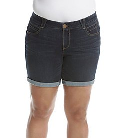 Democracy Plus Size Dark Wash Cuffed Shorts