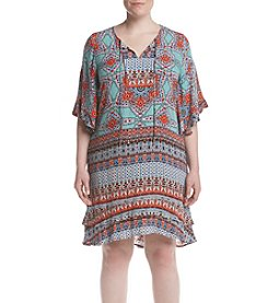 Democracy Plus Size Embroidered Yoke Tie Dress