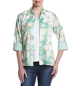 Alfred Dunner® Roll Tab Woven Button Down