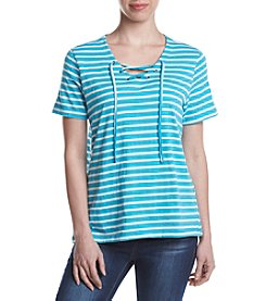 Studio Works Lace Up Stripe Print Top