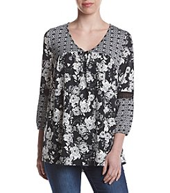 Studio Works® Printed Crochet Trim Blouse