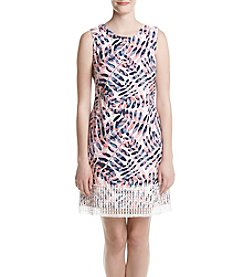 Taylor Dresses Printed Lace Trim Dress