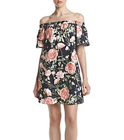 A. Byer Floral Off-Shoulder Dress