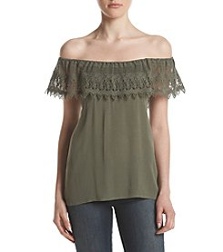 Hippie Laundry Crochet Trim Off-Shoulder Top