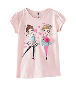 Beautees Girls' 4-6X Ballerinas 3D Flower Tee