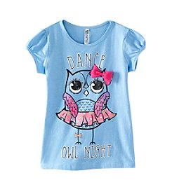 Beautees Girls' 4-6X Dance Owl Night Tee