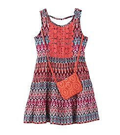 Beautees Girls' 4-6X Tiered Boho Dress With Faux Suede Purse