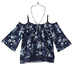 Beautees Girls' 7-16 Cold Shoulder Floral Print Top