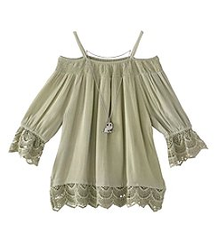 Beautees Girls' 7-16 Off The Shoulder Smocked Peasant Top
