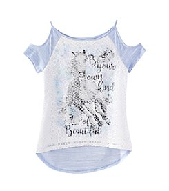 Beautees Girls' 7-16 Cold Shoulder Top with Lace Front Horse Graphic