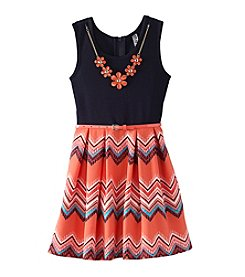 Beautees Girls' 7-16 Fit N Flare Chevron Print Skirt