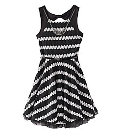 Beautees Girls' 7-16 Crochet Zig Zag Print Skater Dress
