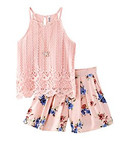Beautees Girls' 7-16 Lace Halter Top with Floral Print Short Set