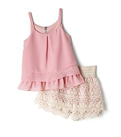 Beautees Girls' 7-16 Tiered Tank And Crochet Short Set
