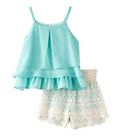 Beautees Girls' 7-16 Tiered Tank with Necklace and Crochet Shorts Set